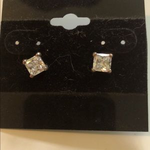 Silpada CZ Noble square cut post earrings.